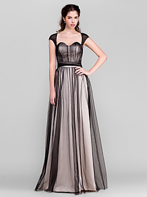 TS Couture® Floor-length Tulle Bridesmaid Dress Sheath / Column Sweetheart with Buttons / Draping / Side Draping / Ruching