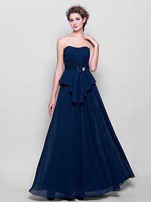 Lanting Bride® Na zem Šifón Šaty pro družičky - A-Linie Bez ramínek Větší velikosti / Malé s Korálky / Křížení