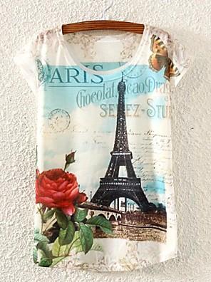 여성의 컬러 블럭 라운드 넥 짧은 소매 티셔츠 화이트 봄 / 여름 / 가을 얇음