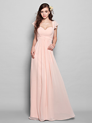 Floor-length Chiffon Bridesmaid Dress - Mini Me A-line Sweetheart Plus Size / Petite with Draping / Ruffles / Ruching