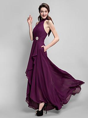 Lanting Bride® Assimétrico Chiffon Vestido de Madrinha Linha A Gola Alta Tamanhos Grandes / Mignon comLaço(s) / Pregueado / Bolsos /