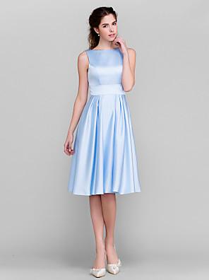 Lanting Bride® באורך  הברך סאטן שמלה לשושבינה - גזרת A / נסיכה סירה פלאס סייז (מידה גדולה) / פטיט עם פפיון(ים) / כיסים / סרט