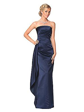 ドレス タイト/コラム ストラップレス フロア丈 サテン とともに フリル