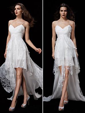 몸집이 작은 A 라인 신부 lanting / 플러스 웨딩 드레스 코트 기차 스파게티 스트랩 쉬폰 / 레이스 크기