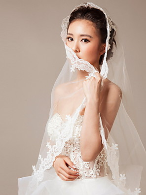 Wedding Veil One-tier Blusher Veils / Chapel Veils Lace Applique Edge / Beaded Edge 74.8 in (190cm) Lace White White