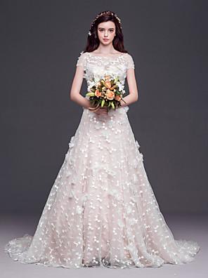 A-라인 / 공주 웨딩 드레스 코트 트레인 스쿱 튤 와