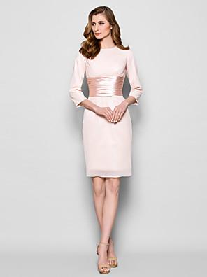Lanting Bride® מעטפת \ עמוד פלאס סייז (מידה גדולה) / פטיט שמלה לאם הכלה  באורך  הברך שרוול 4\3 שיפון - סרט / סלסולים