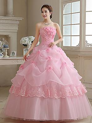 Plesové šaty / Princess Svatební šaty Barevné svatební šaty Na zem Bez ramínek Organza s Aplikace / Perly / Květiny