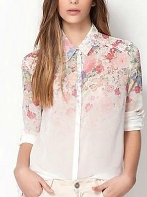 יומיומי/עבודה צווארון חולצה - שרוול ארוך - נשים - חולצות יומיומיות ( משי )