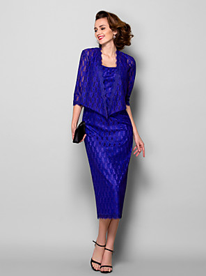 Sheath / Column Plus Size / Petite Mother of the Bride Dress - Wrap Included Tea-length 3/4 Length Sleeve Lace with Lace