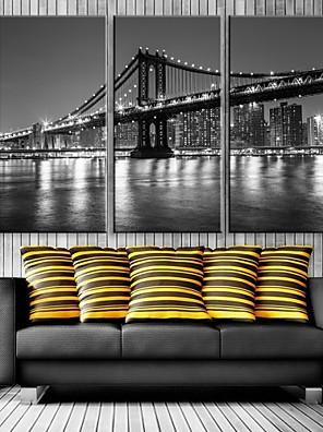 e-Home® stampa su tela ponte città decorativo con luci a led set di 3