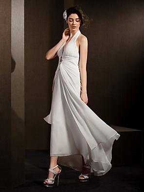 Lanting Bride® Sheath / Column Petite / Plus Sizes Wedding Dress Asymmetrical Halter Chiffon
