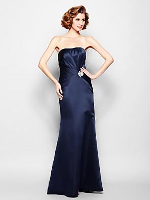 Lanting Bride® בתולת ים \ חצוצרה פלאס סייז (מידה גדולה) / פטיט שמלה לאם הכלה  עד הריצפה ללא שרוולים סאטן - בד נשפך בצד / סיכה מקריסטל