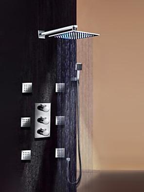 """Kortárs Fali LED / Termosztatikus / Zuhany """"eső""""szórófej / széles spary / Kézi zuhanyzót tartalmaz with  Réz szelepHárom fogantyúk kilenc"""