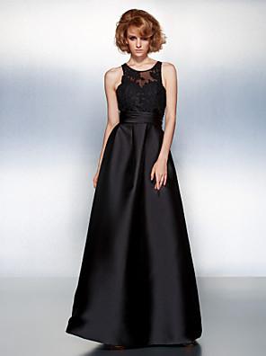 프롬 / 포멀 이브닝 드레스 A-라인 쥬얼리 바닥 길이 새틴 와 아플리케 / 허리끈/리본 / 루시 주름 장식