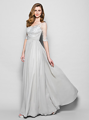 A-line Plus Size / Petite Mother of the Bride Dress Floor-length Half Sleeve Chiffon / Tulle with Appliques / Beading / Ruching / Sequins