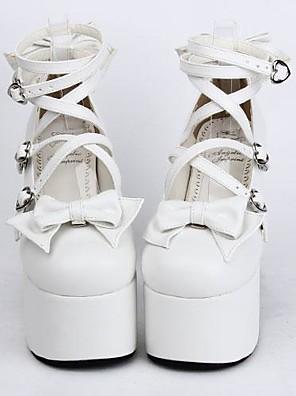 PU blanc 12.5cm en cuir haut talon Sweet Lolita chaussures avec rangée