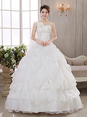 De Baile / Princesa Vestido de Noiva Longo Mula Manca Organza com