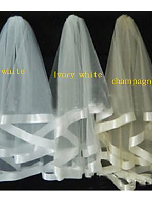 Véus de Noiva Duas Camadas Véu Capela Borda com Tira 31,5 cm (80cm) Tule Branco / Marfim / Champagne