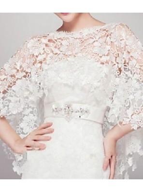 Ermeløs - Blonde - Bryllup Wraps ( Elfenben