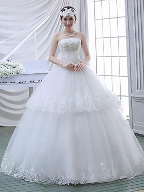 De Baile Vestido de Noiva Longo Tomara que Caia Renda com