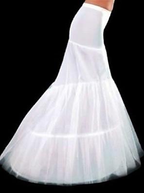 תחתונית  בת ים וסליפ שמלת חצוצרה / שובל קפלה אורך עד לרצפה 3 פוליאסטר לבן