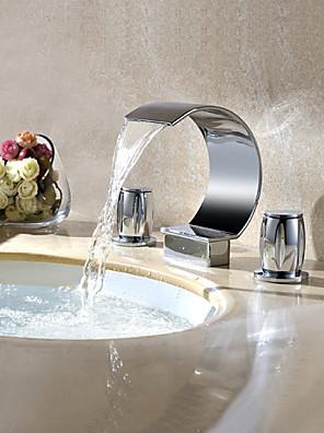 Moderne Udspredt Vandfald / Roterbare with  Messing Ventil To Håndtag tre huller for  Krom , Håndvasken vandhane