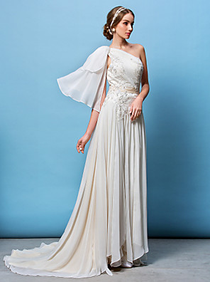Lanting Bride® A-line / Princess Petite / Plus Sizes Wedding Dress Court Train One Shoulder Chiffon with