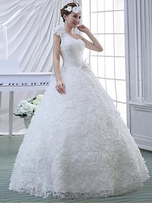 De Baile Vestido de Noiva Longo Mula Manca Renda / Chiffon Aveludado com