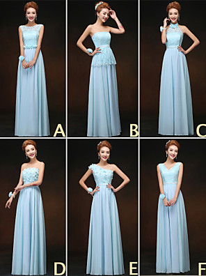 Floor-length Bridesmaid Dress A-line High Neck / Jewel / One Shoulder / Strapless / V-neck with