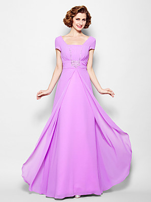 A-line Plus Size / Petite Mother of the Bride Dress - Lace-up Floor-length Short Sleeve Georgette with Beading / Ruching