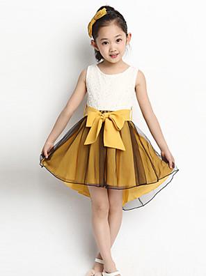 שמלה אחיד כותנה / שיפון / סריגה / כותנה אורגנית קיץ ורוד / צהוב הילדה של