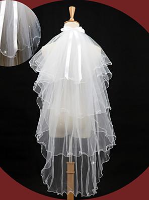 Bruidssluiers Vier-lagen Elleboogsluiers Potloodrand 43,31 in (110cm) Tule / Kant Ivoor Ivoor