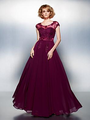 ts couture® hivatalos estélyi ruha molett / vékony a soros kanál földig érő chiffon a appliques / gyöngyös / gombok