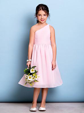 Lanting Bride® באורך  הברך שיפון שמלה לשושבינות הצעירות  גזרת A כתפיה אחת עם תד נשפך / בד נשפך בצד / סלסולים
