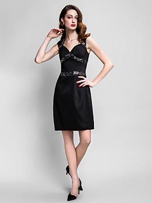ts couture® Cocktailpartykleid plus Größe / zierlich Mantel / Spalte Queen Anne knielang mit Pailletten Stretch-Satin