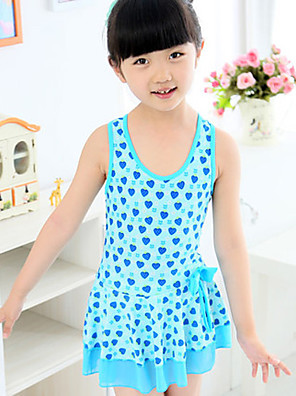 Girl's Swimwear,Polyester Summer Blue / Pink