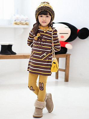 Girl's Cotton/Polyester Medium Cute Leisure Stripe Long Sleeve Clothing Set