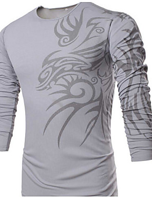 Men's Casual/Work/Formal/Sport Print Long Sleeve Regular Polos (Cotton/Cotton Blends/Polyester)