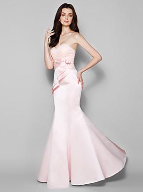 Lanting Bride® Na zem Krajka / Satén Šaty pro družičky - Mořská panna Srdce Větší velikosti / Malé s Mašle / Krajka / Křížení
