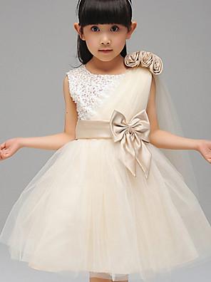 גזרת A / נשף באורך  הברך שמלה לנערת הפרחים - כותנה / טול / נצנצים / פוליאסטר ללא שרוולים עם תכשיטים עם