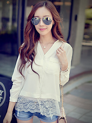 Pink Doll®Women's Square Neck Casual/Lace ¾ Sleeve Long Shirt