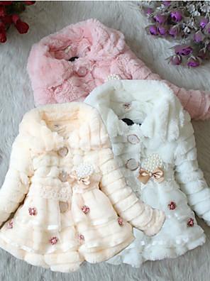Mädchen Kleid einfarbig Baumwolle / Elasthan / Wollmischung Winter / Herbst Rosa / Weiß / Beige