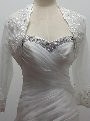 결혼식 볼레로에게 3 / 4 길이 소매 얇은 명주 그물 / 반짝이 흰색 볼레로 어깨를 으쓱 랩