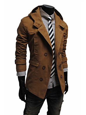 Men's Solid Casual Trench coat,Cotton Blend Long Sleeve-Black / Brown / Yellow / Tan