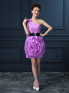 Cocktail Party Dress A-line One Shoulder Short / Mini Organza / Satin with Flower(s)