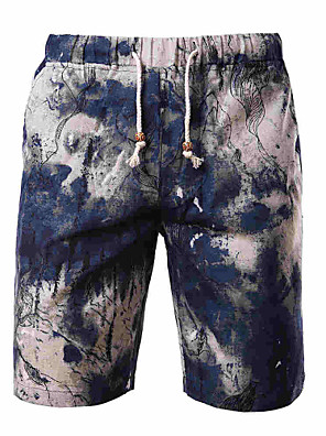 Men's Print Casual Chinos,Cotton / Polyester Multi-color