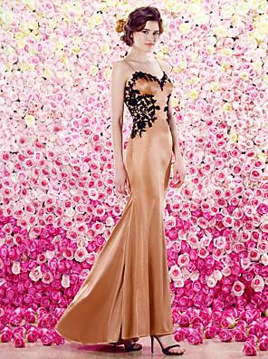 TS couture® 공식적인 저녁 드레스 플러스 사이즈 / 아담 트럼펫 / 인어 스파게티 스트랩 층 길이 아플리케와 니트