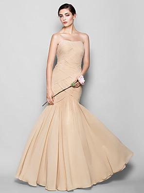 Lanting Bride® עד הריצפה שיפון שמלה לשושבינה  צמוד ומתרחב מחשוף לב פלאס סייז (מידה גדולה) / פטיט עם בד בהצלבה