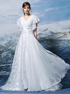 Lanting Bride® Linha A Tamanhos Grandes / Pequeno Vestido de Noiva Cauda Escova Decote V Chiffon com
